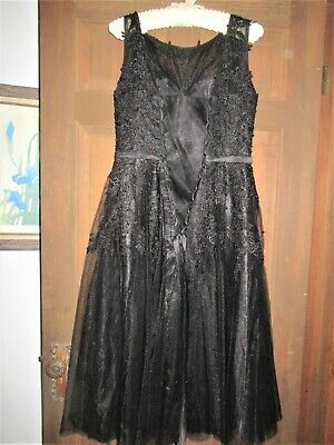 Black Prom / bridal  party Gown Lace beads laced back closure  medium