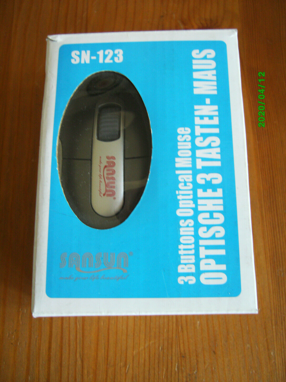 SANSUN Optische 3-Tasten-Maus SN-123 PS/2 USB neu