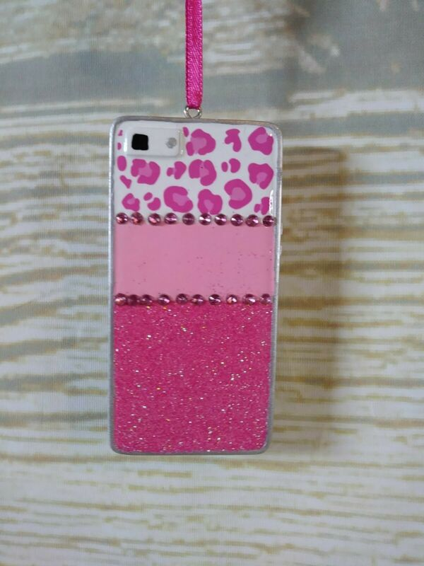 New! PINK LEOPARD CELL PHONE Christmas Tree Ornament Personalize Teens Tier Tray