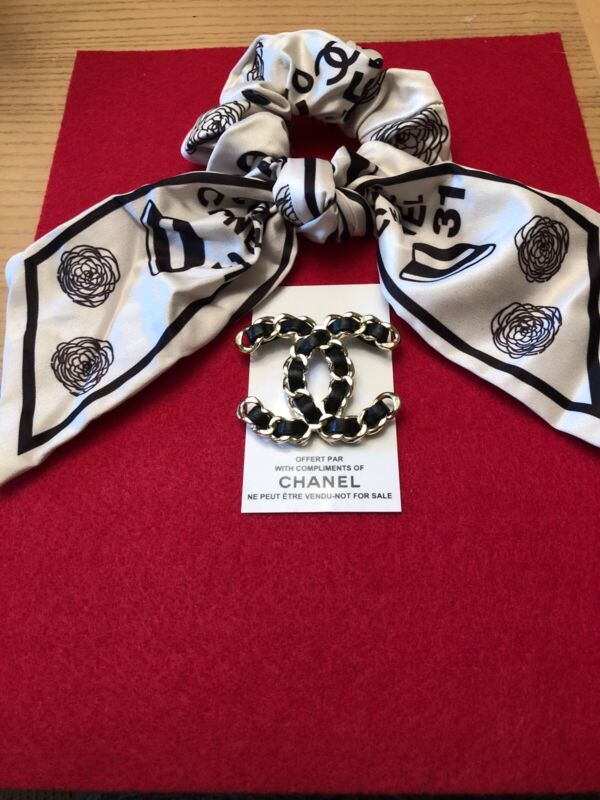 Chanel Vip Hair Tie and Brooch