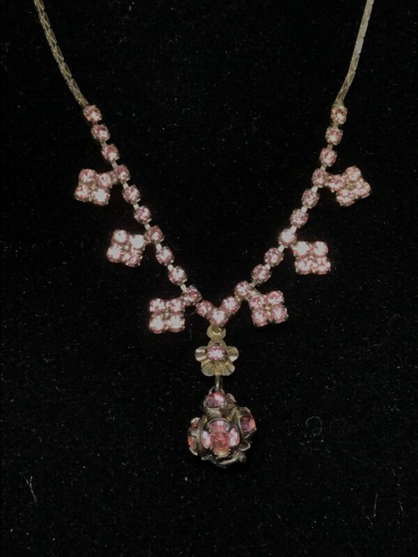 Vintage Pink Rhinestone Necklace Dainty Victorian Revival