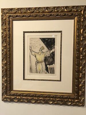 "Marc Chagall, ""Cantique de David"" - Rare Bible Series Hand Colored Etching!"