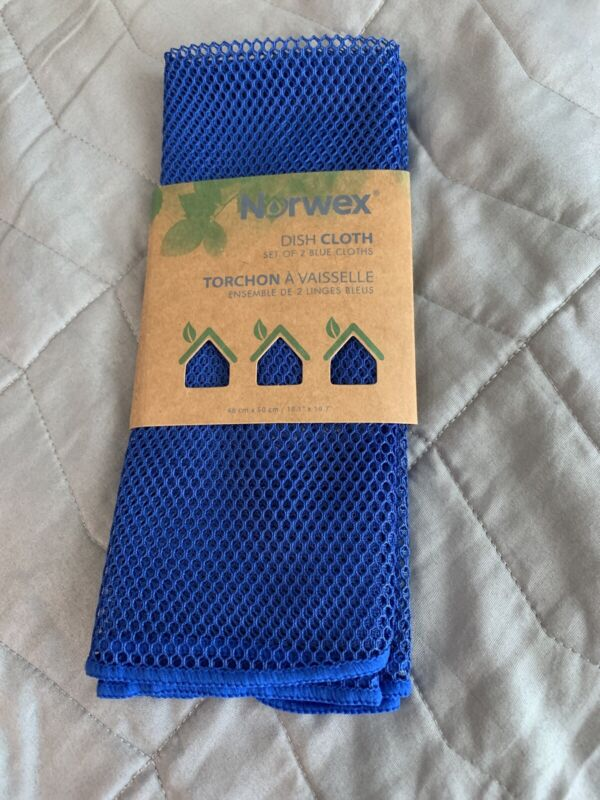 """New Norwex Dish Cloth Set Of 2 Blue Cloths Netted 18.1"""" x 19.7"""""""