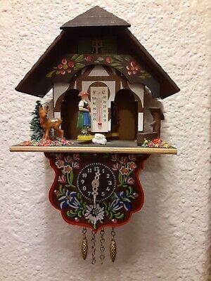 Vintage German Painted Wood Cuckoo Clock with key WORKS