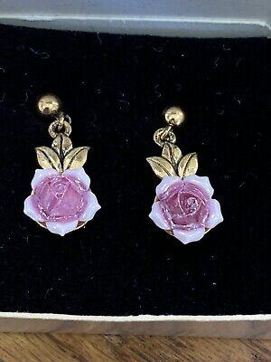 Vintage Avon Porcelain Rose Garden Pierced Earrings
