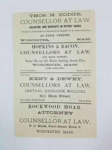 1890 Worcester Massachusetts Advertisement Lawyer Hoar Hopkins Bacon Dodge Dewey