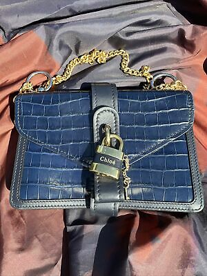 Chloé Full Blue Crocodile-Effect Aby Chain Shoulder Bag Preowned 100% Authentic