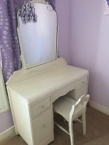 Antique Childs Vanity with Mirror and chair