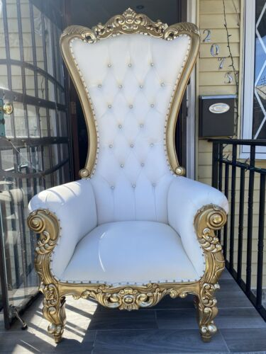 Event Throne Chairs 6ft Gold White - $800.00