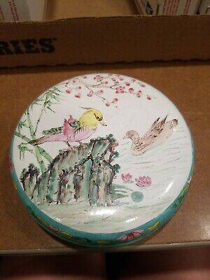 Vintage Metal tin Bird Floral Bowl Jewelry Container LOT VV