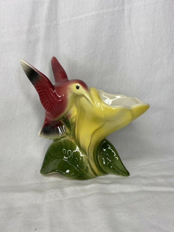 ROYAL COPLEY HUMMINGBIRD ON YELLOW FLOWER PLANTER VASE