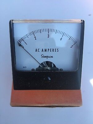 Simpson 0 - 5 Amps Meter New In The Box With Hardware