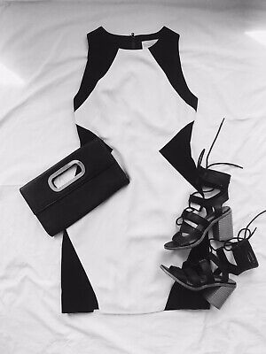 Keepsake The Label Black & White Knee Length Pencil Sleeveless Dress Size XS