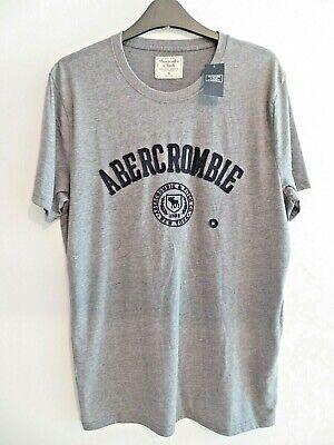 Men's Abercrombie & Fitch top t shirt Grey BNWT logo