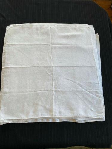 "12 Elegant White Damask Linen Napkins 24"" Square, Same Pattern"