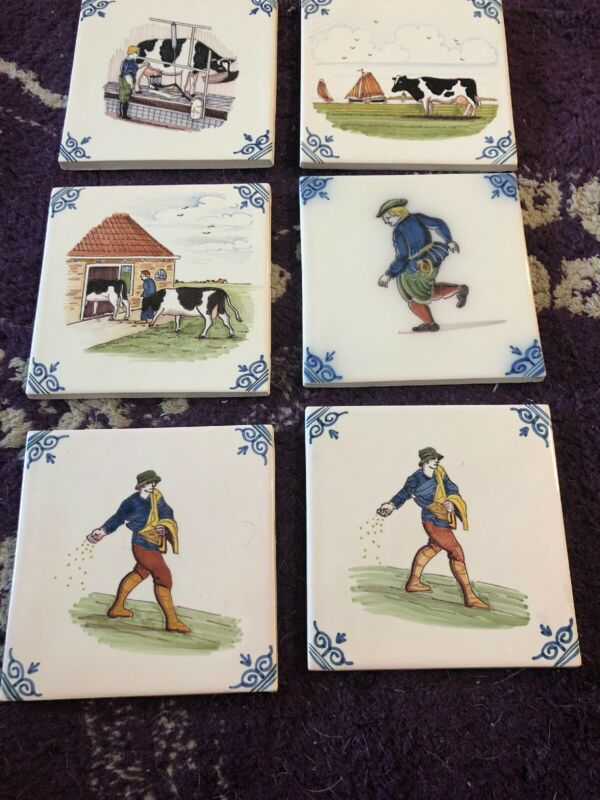 6 Vintage Makkum Holland Decorative Farm House Cows Rare Hand Painted Tiles