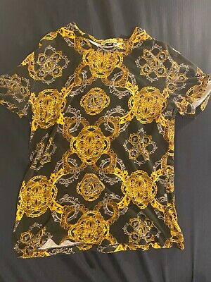 $225 Versace Jeans Men's Gold All Over Printed T-Shirt M