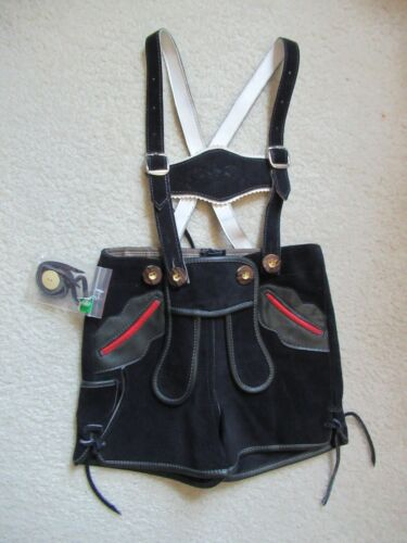 New St. Peter Trachten Black Red Suede Leather Lederhosen Toddler Boys 86/2 2007