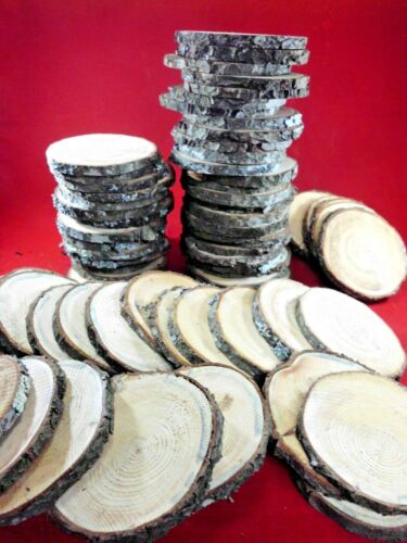 """25 PINE  WOOD SLICES  4""""  WOODEN CRAFTS WEDDING ORNAMENTS COASTERS  ROUNDS"""