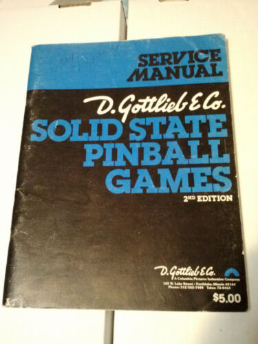 Gottlieb Solid State Pinball Games 2nd Edition Service Manual Original Book 1978