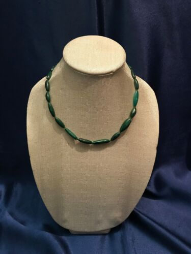 SUPER RARE Vintage MALACHITE Long Bead Necklace/Choker From Europe #1 - Antique