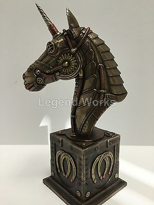 Steampunk Unicorn Bust Statue On Plinth Sculpture Figurine - New in Box