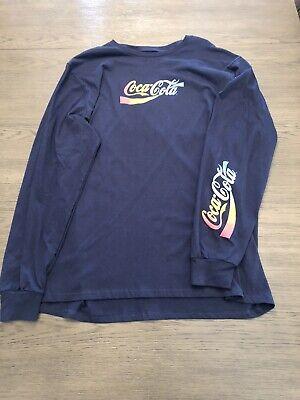 MENS NEW Coca-Cola Coke 2019 Navy Blue Rainbow Logo LS Shirt SZ XL
