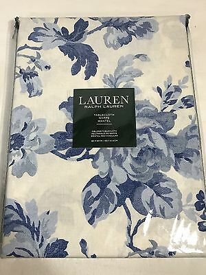 Calvin Klein 100% Cotton Oblong Tablecloth 60 X 84 White With BLUE FLOWERS