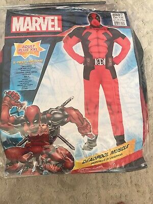 Deadpool Muscle Costume for Adults, Includes a Bodysuit and More Plus XXL Nwt