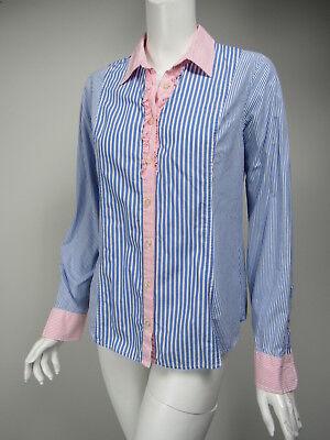 VINEYARD VINES Blue White Stripe Pink Trim Ruffle Button Front Shirt sz 10 ()
