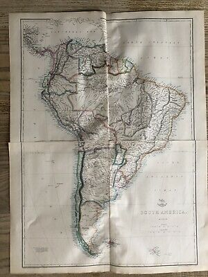 1861 South America Large Hand Coloured Map from Weekly Dispatch 63 cm x 49 cm