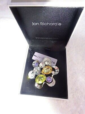 Brooch Jon Richard Large silver tone with large colour stones boxed