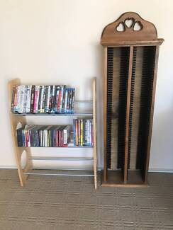 TWO - CD / DVD Racks  One Pine and the other Light Wood Colour