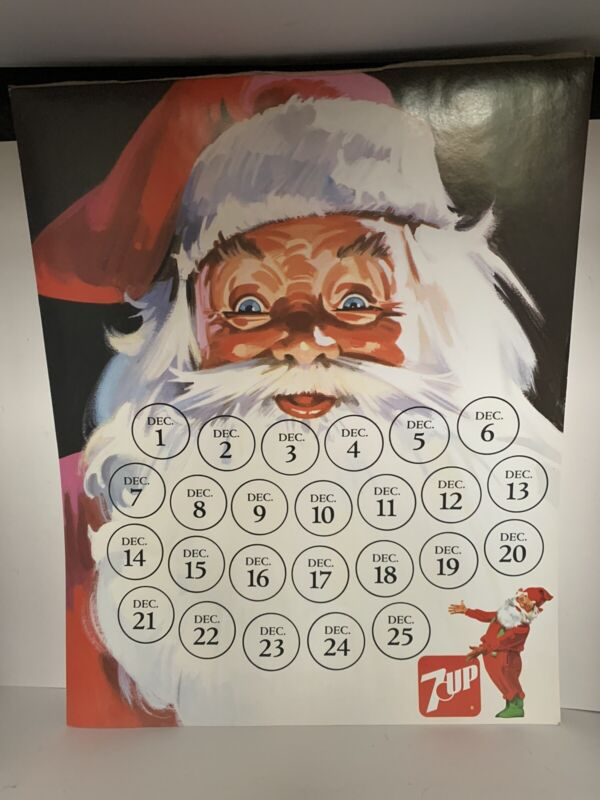 Vintage 7-Up Santa Claus Advent Calendar  7-UP COUNTDOWN TO CHRISTMAS Poster
