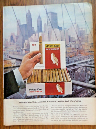 1965 White Owl Cigar Ad Mew the New Yorker Created Honor New York World