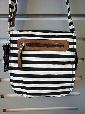 Gestreifte Damen Handtasche (Schöne Damen Hand-Schulter-Tasche, Umhängetasche, gestreift, schwarz/weiß/braun)