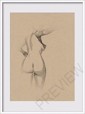 ORIGINAL NUDE FEMALE POSE GESTURE SKETCH PORTRAIT FIGURE 6x8 MIXED MEDIA DRAWING - $15.00