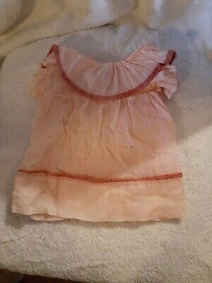 Antique organdy doll dress with two toned pink for early composition dolls