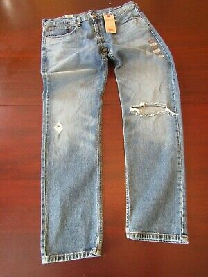 mens levi's 502 regular taper stretch jeans 36x34 nwt faded ripped knee