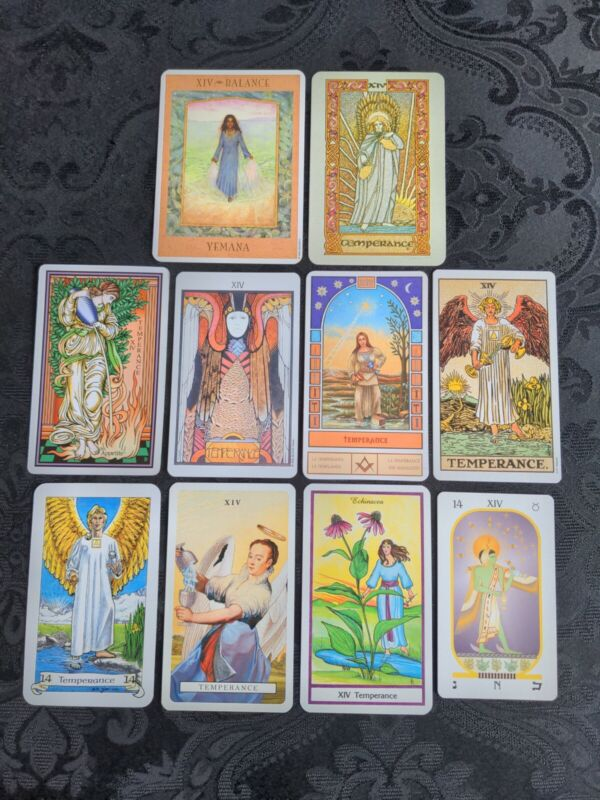 10 *TEMPERANCE* Coordinated Tarot Card Lot *All Different* OCCULT Metaphysical