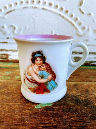 Antique German Porcelain Cup/Mug Mother Daughter Victorian