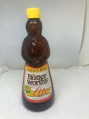 "Vintage Mrs. Butterworth's Brown Glass Syrup Bottle 10"" w/Plastic Lid Sticker"
