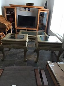 Beautiful Hard wood coffee table and 2 end tables