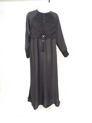 Ladies black closed abaya Long dress size M free shipping
