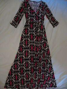 Chelsea Verde 'Time After Time' Maxi Dress Sz M - Beautiful Black, Beige & Pink