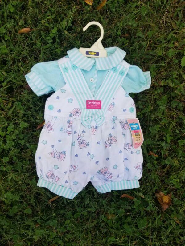 Vintage OshKosh Bgosh Vestbak cute Bunny Shortall Overall Baby 6-9 months new