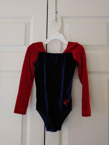 Girl GK Elite Size Child Small CS Navy Red Velour Competition Gymnastics Leotard