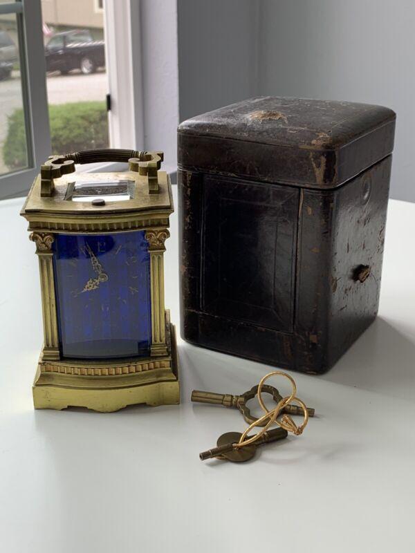 Rare Antique L. Leroy & Cie French Gilt Brass Blue Glass Striking Carriage Clock