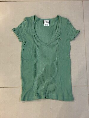Lacoste Women Green V Neck Cute T-shirt Top Size 36 Small