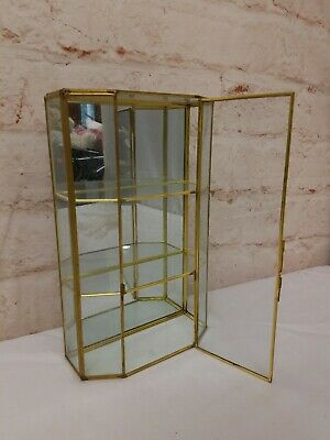11.5 Glass Display Curio Case Cabinet Mirrored Brass Wall Hanging